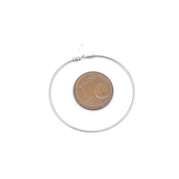 4 Supports Boucles D'oreilles Créoles En Métal Argenté 35mm - Photo n°2