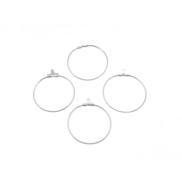 4 Supports Boucles D'oreilles Créoles En Métal Argenté 35mm - Photo n°1