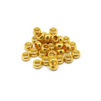 50 Perles Ronde Fine à Gros Trou En Métal Doré Lisse 5mm