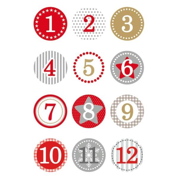 Chiffres Pour Calendrier De Lavent.Stickers De Noel Chiffres Calendrier De L Avent Rouge