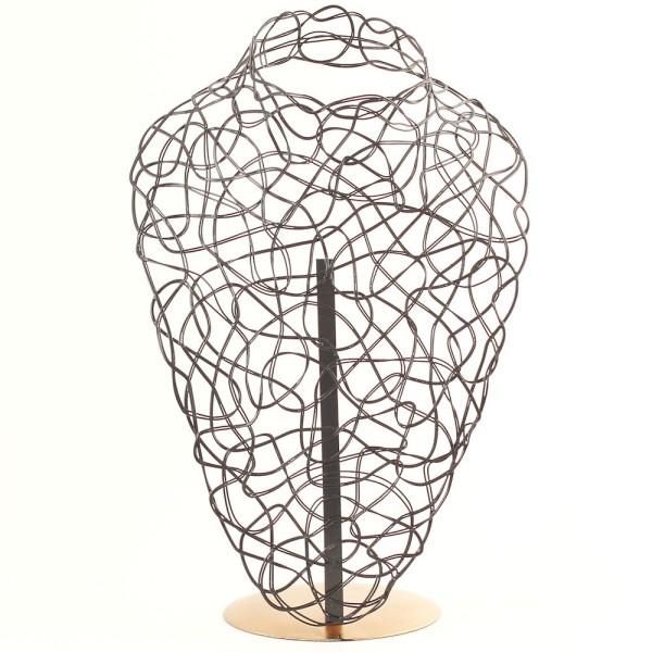 Porte bijoux buste métal pour un collier Noir et doré - Photo n°1