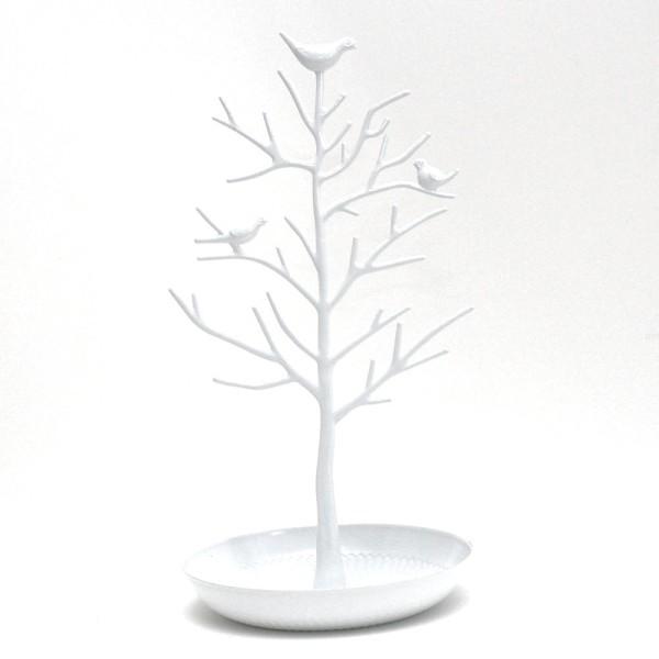 Porte bijoux arbre plastique avec corbeille Blanc - Photo n°1