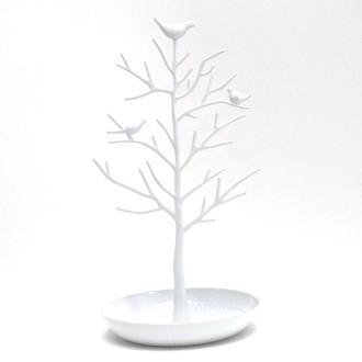 Porte bijoux arbre plastique avec corbeille Blanc