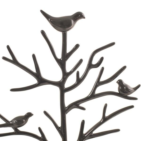 Porte bijoux arbre plastique avec corbeille Noir - Photo n°3
