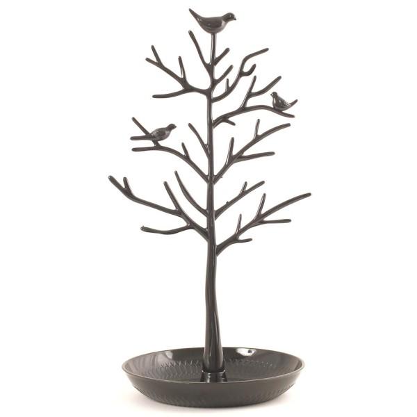 Porte bijoux arbre plastique avec corbeille Noir - Photo n°1