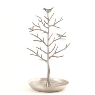 Porte bijoux arbre métal oiseaux Argenté