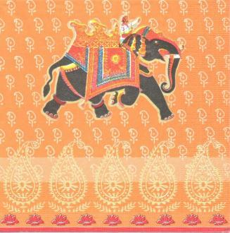4 Serviettes en papier éléphant Inde Format Lunch