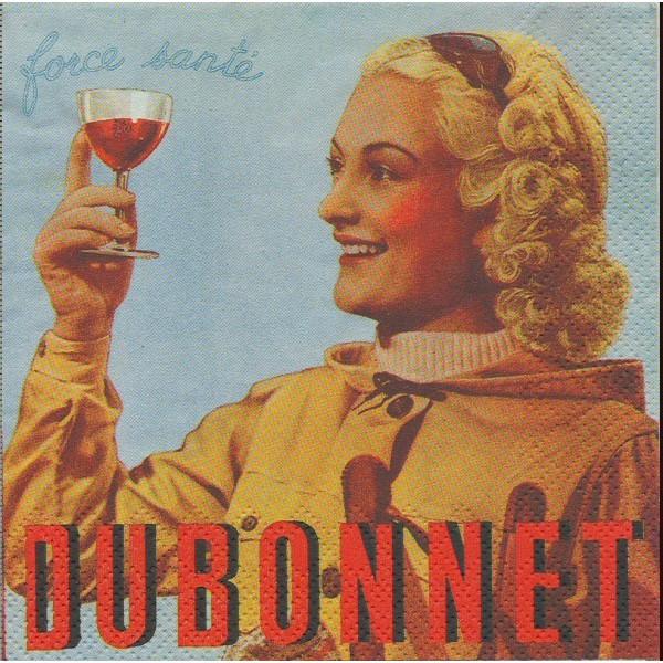 4 Serviettes en papier Publicité Force Santé Dubonnet Format Cocktail Decoupage C-514200 IHR - Photo n°1