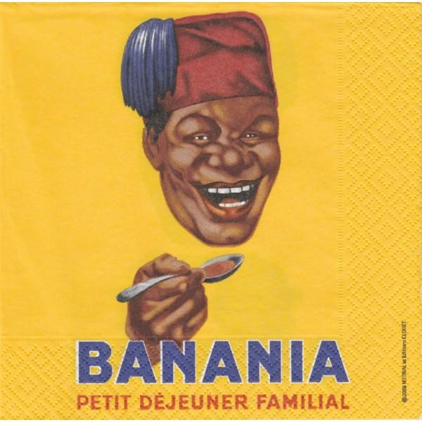 4 Serviettes en papier Publicité Banania Tête Format Lunch Decoupage 16001 Editions Clouet - Photo n°1