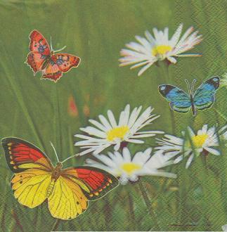 4 Serviettes en papier Papillon Marguerite Format Lunch