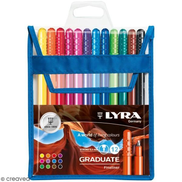 Pochette de stylo feutres LYRA Graduate - Pointe fine - 12 couleurs - Photo n°1