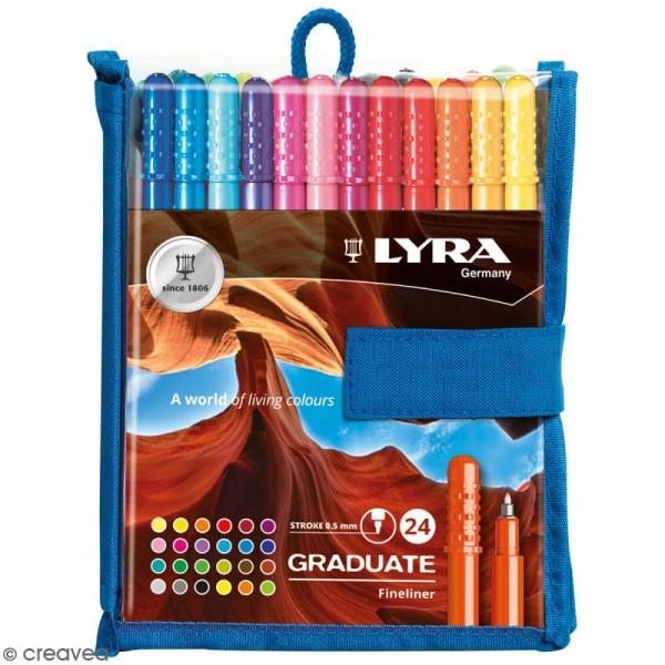 Pochette de stylo feutres LYRA Graduate - Pointe fine - 24 couleurs - Photo n°1