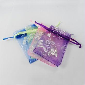 10 Sac Cadeaux En Organza Multicolore Papillon 7x9cm