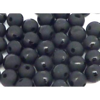 2 Perles Rondes Lisses Noire Avec Liseret Brillant Noir En Agathe 6,5m