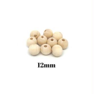 20 Perles En Bois Naturel 12mm Ronde Couleur Sable