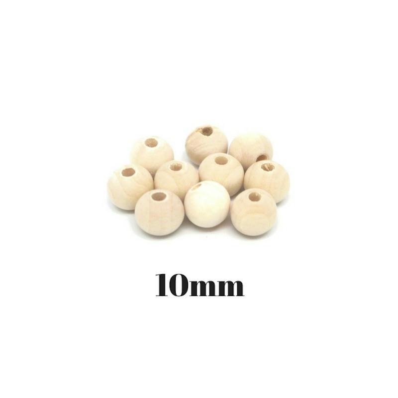 40 perles en bois naturel 10mm ronde couleur sable. Black Bedroom Furniture Sets. Home Design Ideas