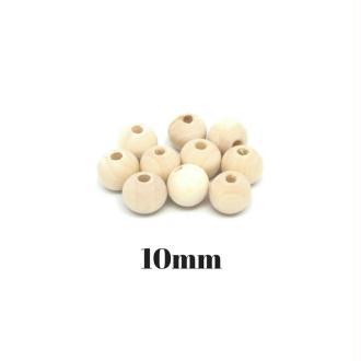 40 Perles En Bois Naturel 10mm Ronde Couleur Sable