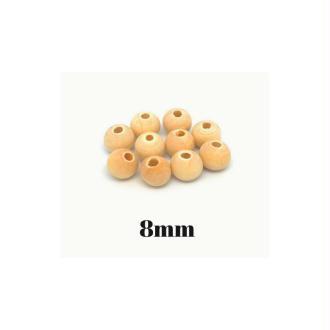 60 Perles En Bois Naturel 8mm Ronde Couleur Sable