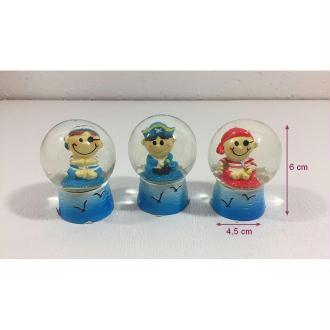 Lot de 3 Boules à Neige Pirate pour enfant, dim. 4.5 x 6 cm, pour anniversaire ou déco
