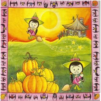 4 Serviettes en papier Halloween Chinoise Format Lunch