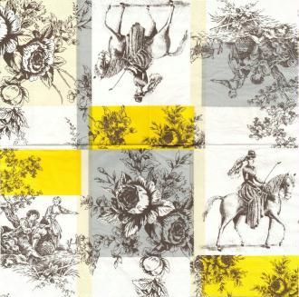 4 Serviettes en papier Jardin Victorien Format Lunch