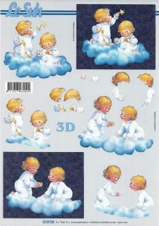 Feuille 3D à découper A4 Anges Nuages