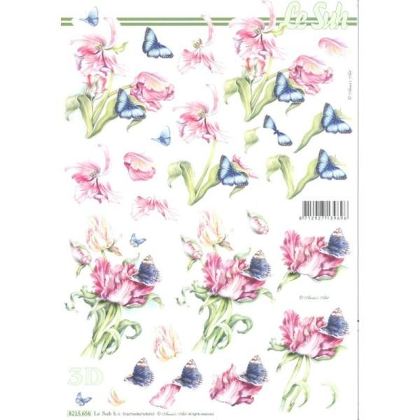 Feuille 3D à découper A4 Fleurs Tulipe Papillon - Photo n°1
