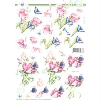 Feuille 3D à découper A4 Fleurs Tulipe Papillon