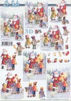 Feuille 3D à découper A4 Père Noël Enfants