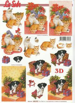 Feuille 3D à découper A4 Chien & Chat Noël Panier