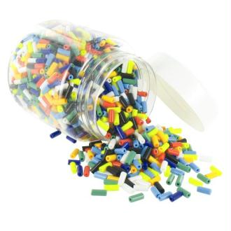 Perles tubes en verre cylindriques 09 x 04 mm Multi Opaque - Bocal de 500 grammes