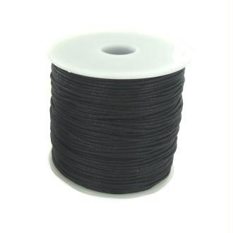 Bobine de fil en coton ciré Noir - 100 mètres - diam 01 mm