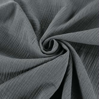 Tissu double gaze de coton Gris Souris x 50 cm