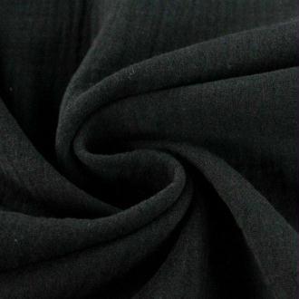 Tissu double gaze de coton Noir x 50 cm