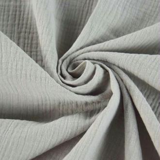 Tissu double gaze de coton Gris Clair x 50 cm