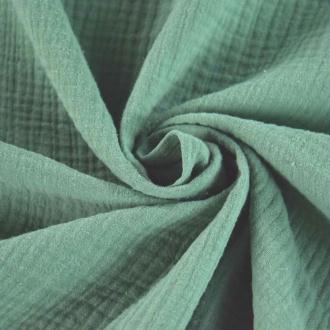 Tissu double gaze de coton Vert x 50 cm