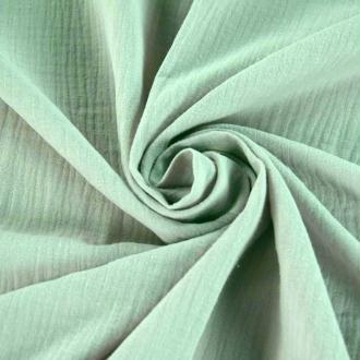 Tissu double gaze de coton Amande x 50 cm