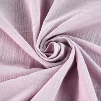 Tissu double gaze de coton Rose Pale x 50 cm