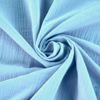Tissu double gaze de coton Bleu Clair x 50 cm