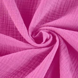 Tissu double gaze de coton Rose Fushia  x 50 cm