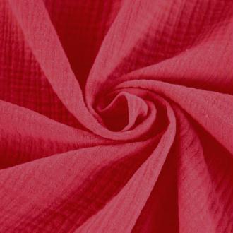 Tissu double gaze de coton Rouge x 50 cm