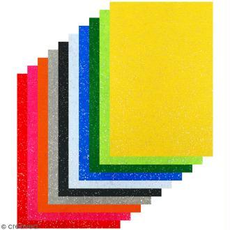 Feutrine adhésive pailletée 1 mm - Couleurs assorties - 20 x 30 cm - 10 pcs