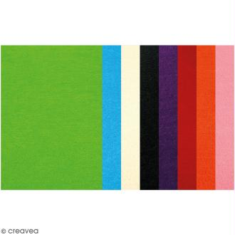 Feutrine 3 mm - Couleurs assorties - 24 x 30 cm - 8 pcs