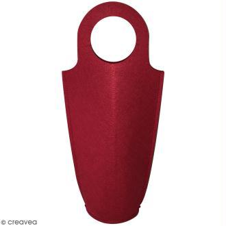 Sac pour bouteille à décorer en feutrine 3 mm - Rouge - 18,5 x 40 cm