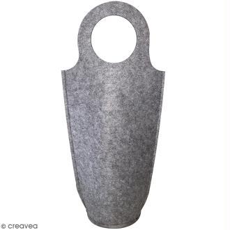 Sac pour bouteille à décorer en feutrine 3 mm - Gris - 18,5 x 40 cm