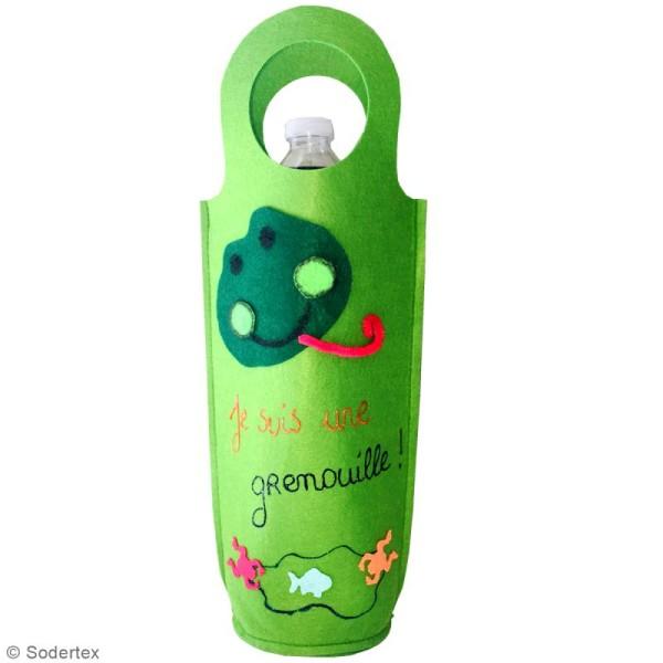 Sac pour bouteille à décorer en feutrine 3 mm - Vert - 18,5 x 40 cm - Photo n°2