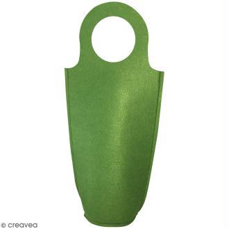 Sac pour bouteille à décorer en feutrine 3 mm - Vert - 18,5 x 40 cm