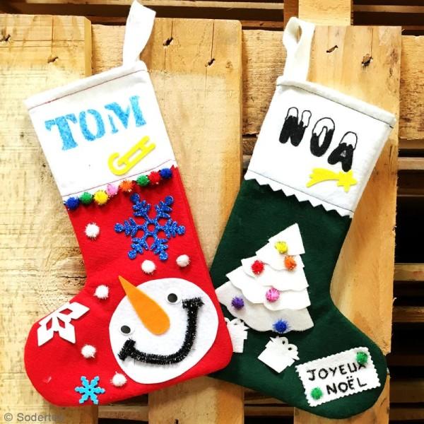 Lot de chaussettes de Noël en feutrine 1 mm - 20 x 30 cm - 10 pcs - Photo n°2