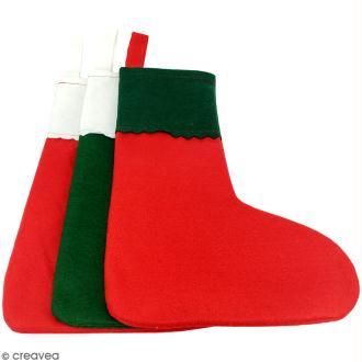 Lot de chaussettes de Noël en feutrine 1 mm - 20 x 30 cm - 10 pcs