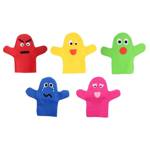 Lot de marionnettes main à décorer en feutrine 1 mm - 25 x 22 cm - 10 pcs - Photo n°2